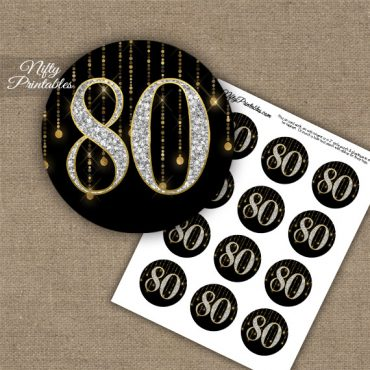 80th Birthday Cupcake Toppers - Diamonds Black Gold