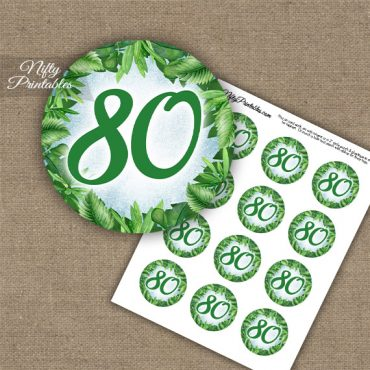 80th Birthday Cupcake Toppers - Greenery