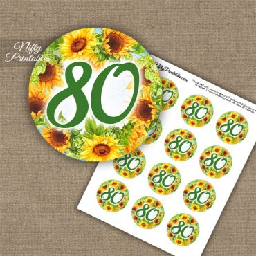 80th Birthday Cupcake Toppers - Sunflowers