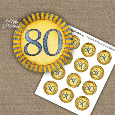 80th Birthday Cupcake Toppers - Sunshine Illustrated
