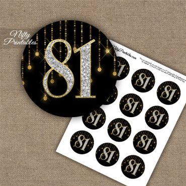 81st Birthday Cupcake Toppers - Diamonds Black Gold
