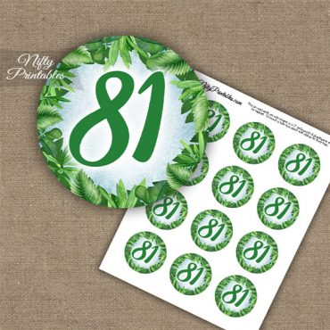 81st Birthday Cupcake Toppers - Greenery