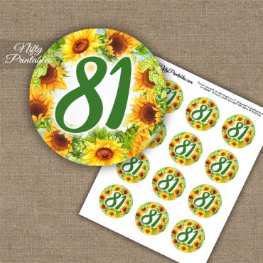 81st Birthday Cupcake Toppers - Sunflowers