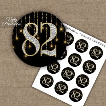82nd Birthday Cupcake Toppers - Diamonds Black Gold