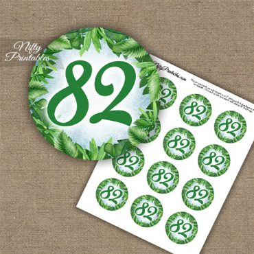 82nd Birthday Cupcake Toppers - Greenery