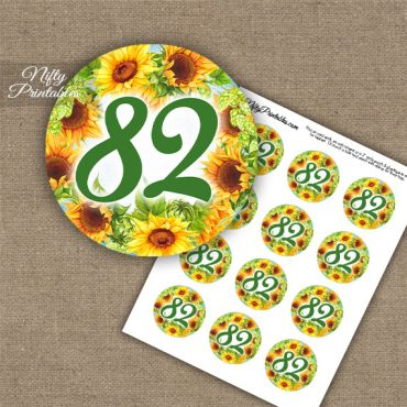 82nd Birthday Cupcake Toppers - Sunflowers