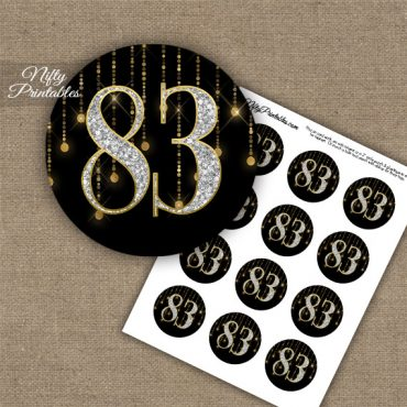 83rd Birthday Cupcake Toppers - Diamonds Black Gold