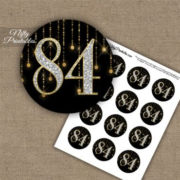 84th Birthday Cupcake Toppers - Diamonds Black Gold