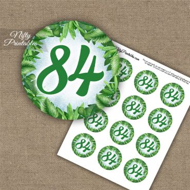 84th Birthday Cupcake Toppers - Greenery