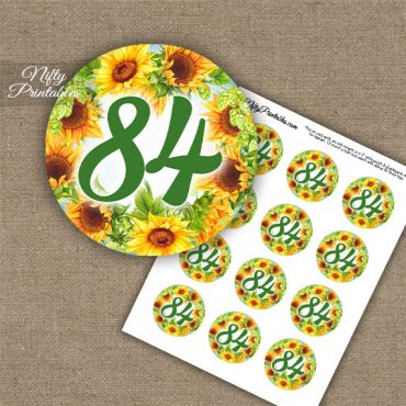 84th Birthday Cupcake Toppers - Sunflowers