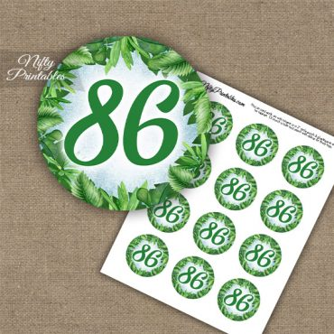 86th Birthday Cupcake Toppers - Greenery