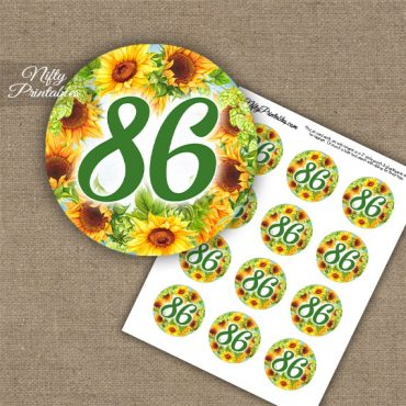 86th Birthday Cupcake Toppers - Sunflowers