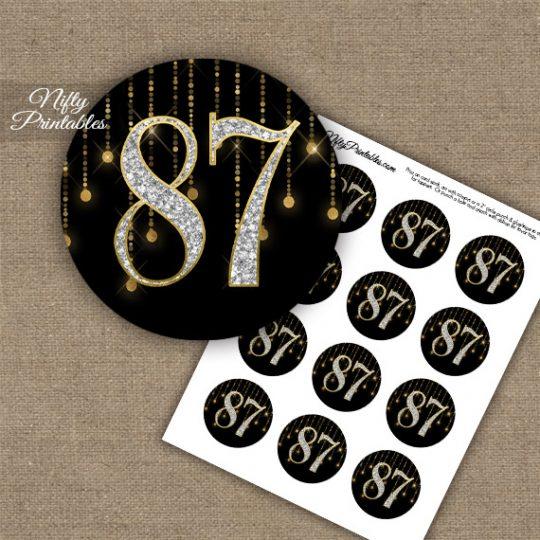 87th Birthday Cupcake Toppers - Diamonds Black Gold