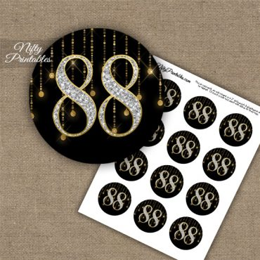 88th Birthday Cupcake Toppers - Diamonds Black Gold