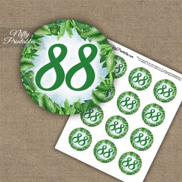 88th Birthday Cupcake Toppers - Greenery