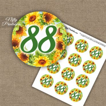 88th Birthday Cupcake Toppers - Sunflowers
