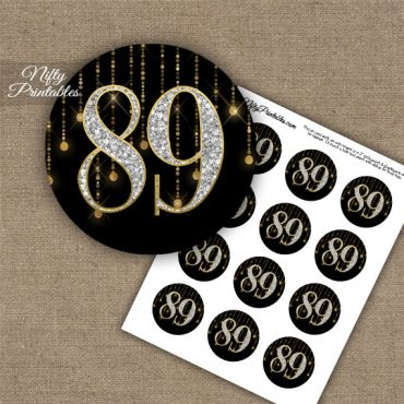 89th Birthday Cupcake Toppers - Diamonds Black Gold