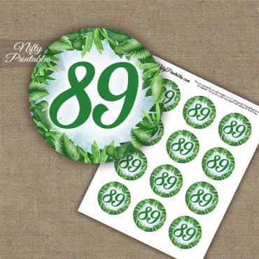 89th Birthday Cupcake Toppers - Greenery