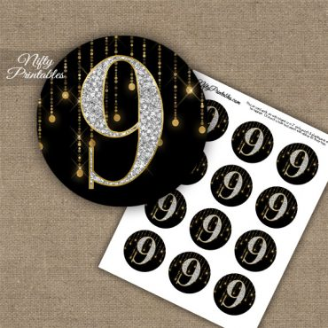 9th Birthday Anniversary Cupcake Toppers - Diamonds Black Gold