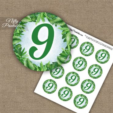 9th Birthday Anniversary Cupcake Toppers - Greenery