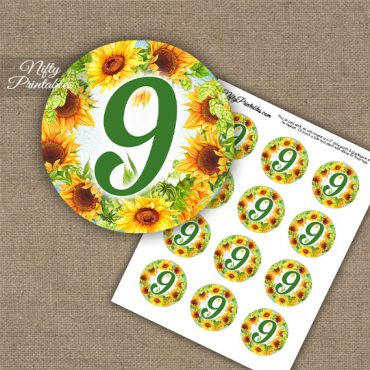 9th Birthday Anniversary Cupcake Toppers - Sunflowers