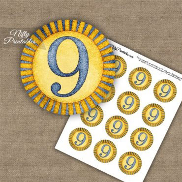 9th Birthday Anniversary Cupcake Toppers - Sunshine Illustrated