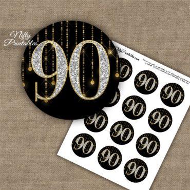 90th Birthday Cupcake Toppers - Diamonds Black Gold