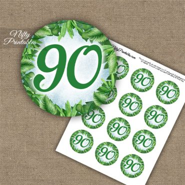 90th Birthday Cupcake Toppers - Greenery