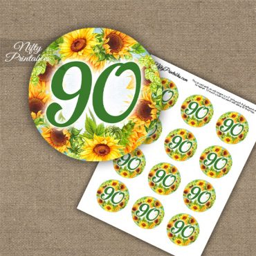 90th Birthday Cupcake Toppers - Sunflowers