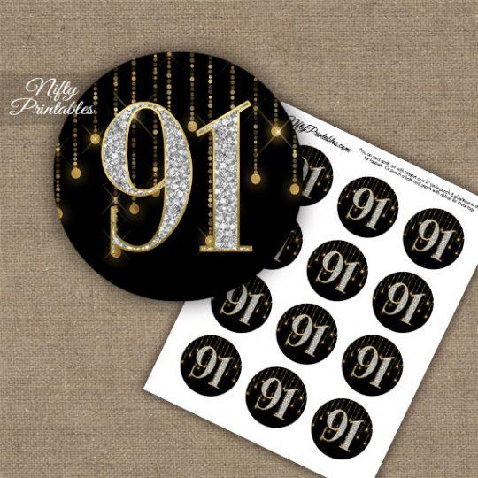 91st Birthday Cupcake Toppers - Diamonds Black Gold