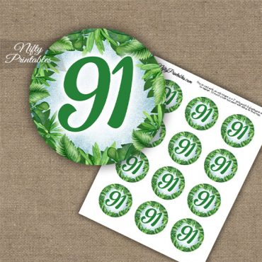 91st Birthday Cupcake Toppers - Greenery