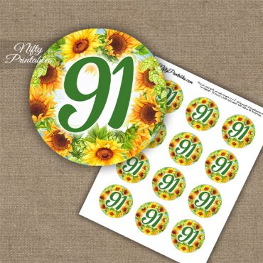 91st Birthday Cupcake Toppers - Sunflowers