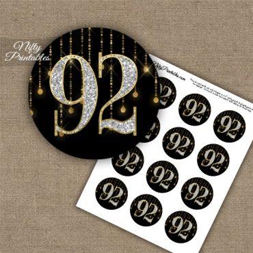 92nd Birthday Cupcake Toppers - Diamonds Black Gold
