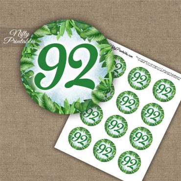 92nd Birthday Cupcake Toppers - Greenery