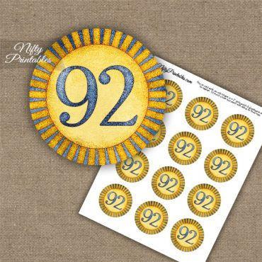 92nd Birthday Cupcake Toppers - Sunshine Illustrated