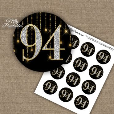 94th Birthday Cupcake Toppers - Diamonds Black Gold