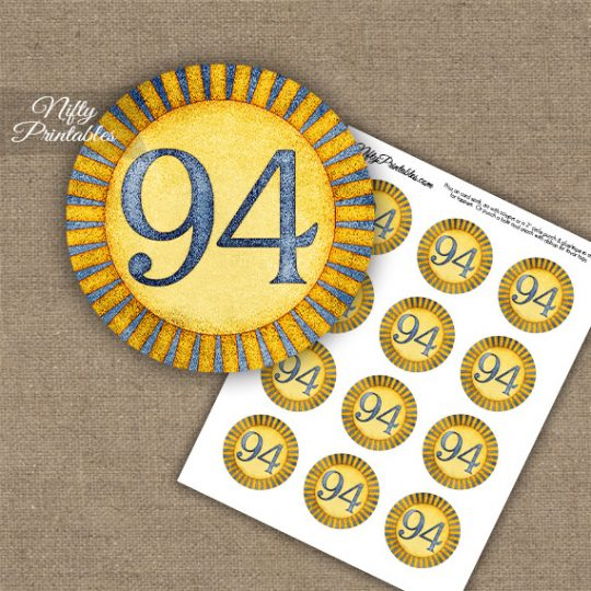 94th Birthday Cupcake Toppers - Sunshine Illustrated