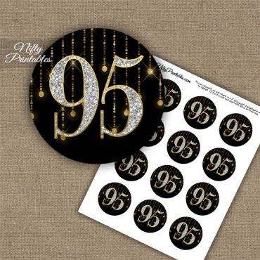 95th Birthday Cupcake Toppers - Diamonds Black Gold