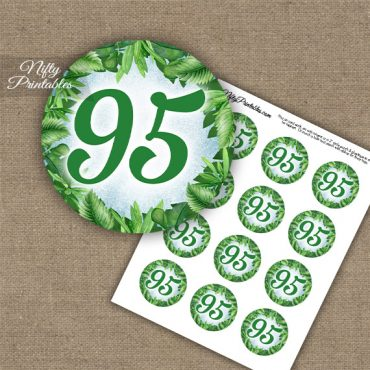 95th Birthday Cupcake Toppers - Greenery