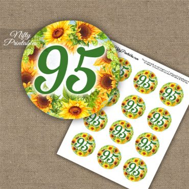 95th Birthday Cupcake Toppers - Sunflowers