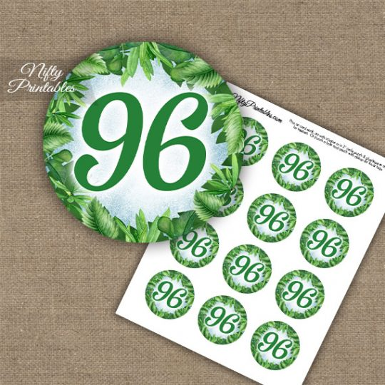 96th Birthday Cupcake Toppers - Greenery