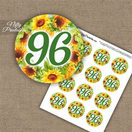 96th Birthday Cupcake Toppers - Sunflowers