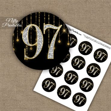 97th Birthday Cupcake Toppers - Diamonds Black Gold