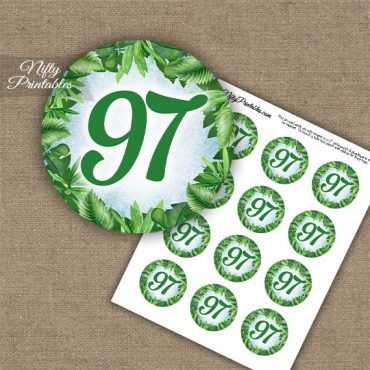 97th Birthday Cupcake Toppers - Greenery