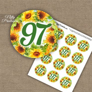 97th Birthday Cupcake Toppers - Sunflowers