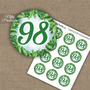98th Birthday Cupcake Toppers - Greenery