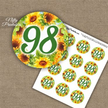 98th Birthday Cupcake Toppers - Sunflowers