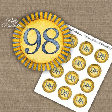 98th Birthday Cupcake Toppers - Sunshine Illustrated
