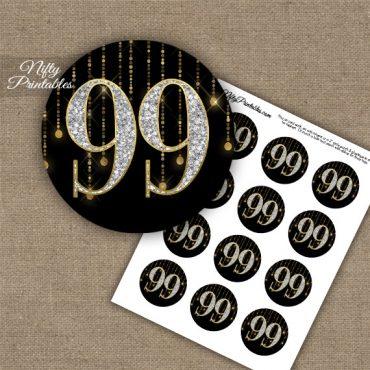 99th Birthday Cupcake Toppers - Diamonds Black Gold