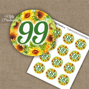 99th Birthday Cupcake Toppers - Sunflowers